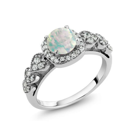 0.62 Ct Round Cabochon White Simulated Opal 925 Sterling Silver - Sterling Silver Rectangular Cabochon Ring