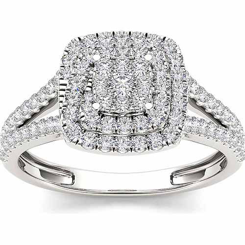 Imperial 1/2 Carat T.W. Diamond Cluster 10kt White Gold Engagement Ring