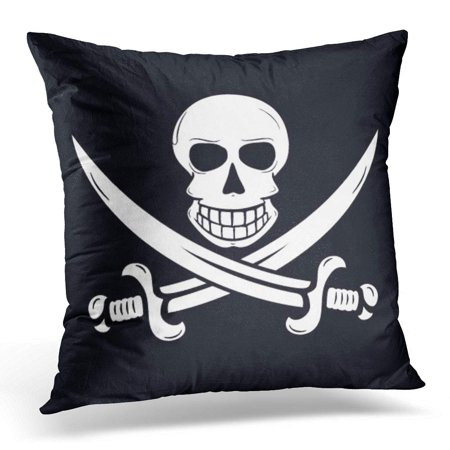 ECCOT Black Jack Jolly Roger Pirate Flag with Skull and Two Crossing Swords White Rackham Pillowcase Pillow Cover Cushion Case 18x18 - Pirate Skull Swords Jolly Roger