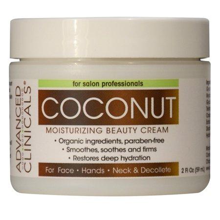 Advanced Clinicals Coconut Oil Cream. Spa size 16oz Moisturizing Cream. Coconut Oil for Face, Hands, Hair. (2oz)