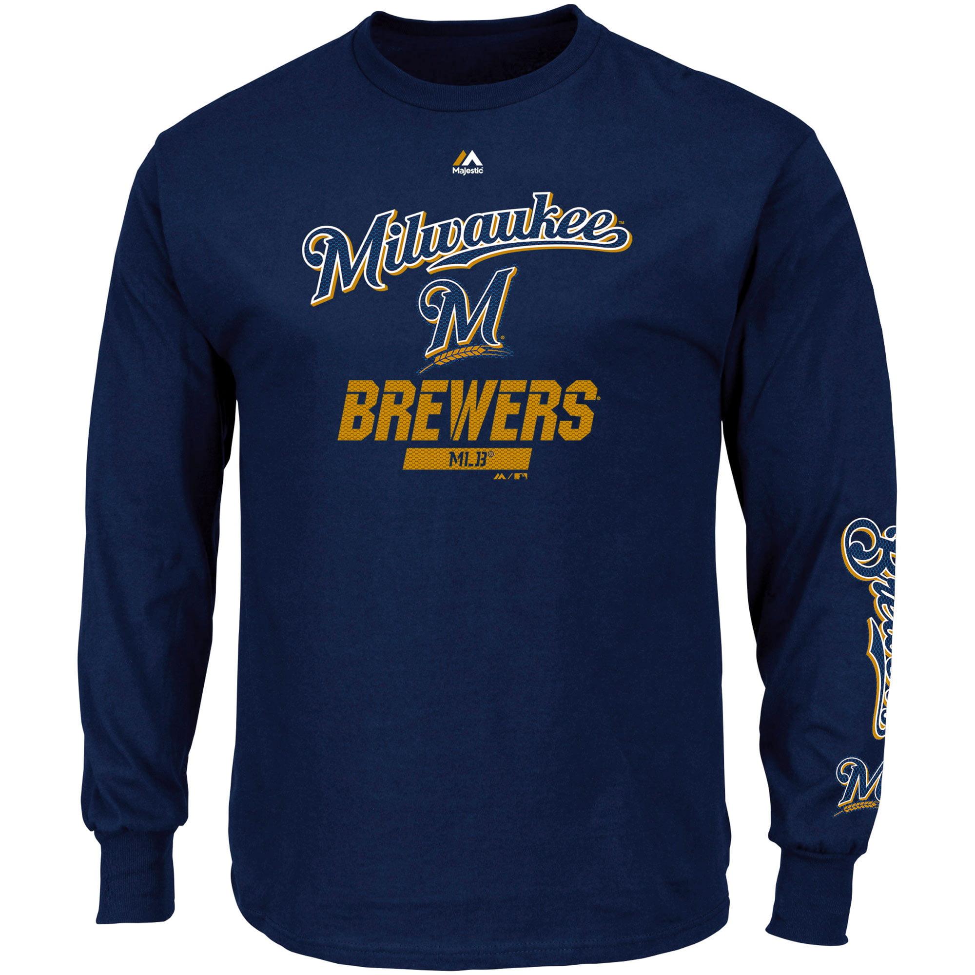 "Milwaukee Brewers Majestic MLB ""Flawless"" Men's Long Sleeve T-Shirt - Navy"