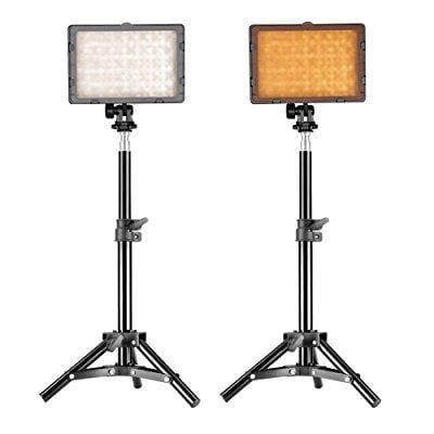 neewer photography 160 led studio lighting kit, including (2)cn-160 dimmable ultra high power panel digital camera dslr camcorder led video light (2)32 / 80cm tall studio light stand