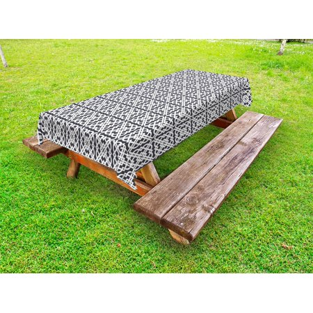 Geometric Outdoor Tablecloth, Medieval European Culture Influenced Jacquard Pattern Traditional Motifs, Decorative Washable Fabric Picnic Table Cloth, 58 X 84 Inches,Charcoal Grey White, by Ambesonne](Medieval Table Setting)