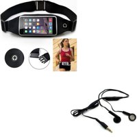 Belt Band Running Waist Bag w Headphones Wired Earphones O8G for Samsung Galaxy S10 Plus On5 J7 Sky Pro, V (2017), Grand Prime Express Prime, Perx, S7 Edge S6 Edge+ Edge, S8 active, S5 Active