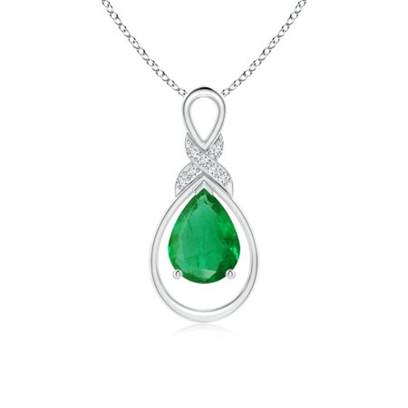 Mother's Day Jewelry - Emerald Infinity Pendant with Diamond 'X' Motif in 14K White Gold (8x6mm Emerald) - SP1091ED-WG-AA-8x6 ()