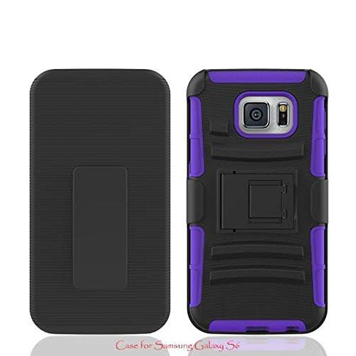 Rugged Hybrid Triple Layer Holster Shell Combo CaseGalaxy S6 Case, [Kickstand and Clip] for Samsung Galaxy S6 - -Purple