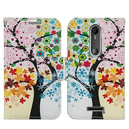 Tree Moto Bars (Motorola Droid Turbo 2 Case | Moto X Force Case | Kinzie Bounce Case, Wrist Strap Pu Leather Magnetic Fold[Kickstand] Wallet Case with ID & Card Slots - Four Seasons Tree)