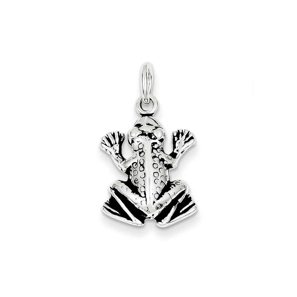 Sterling Silver Antiqued Frog Charm (0.8in long x 0.6in wide)