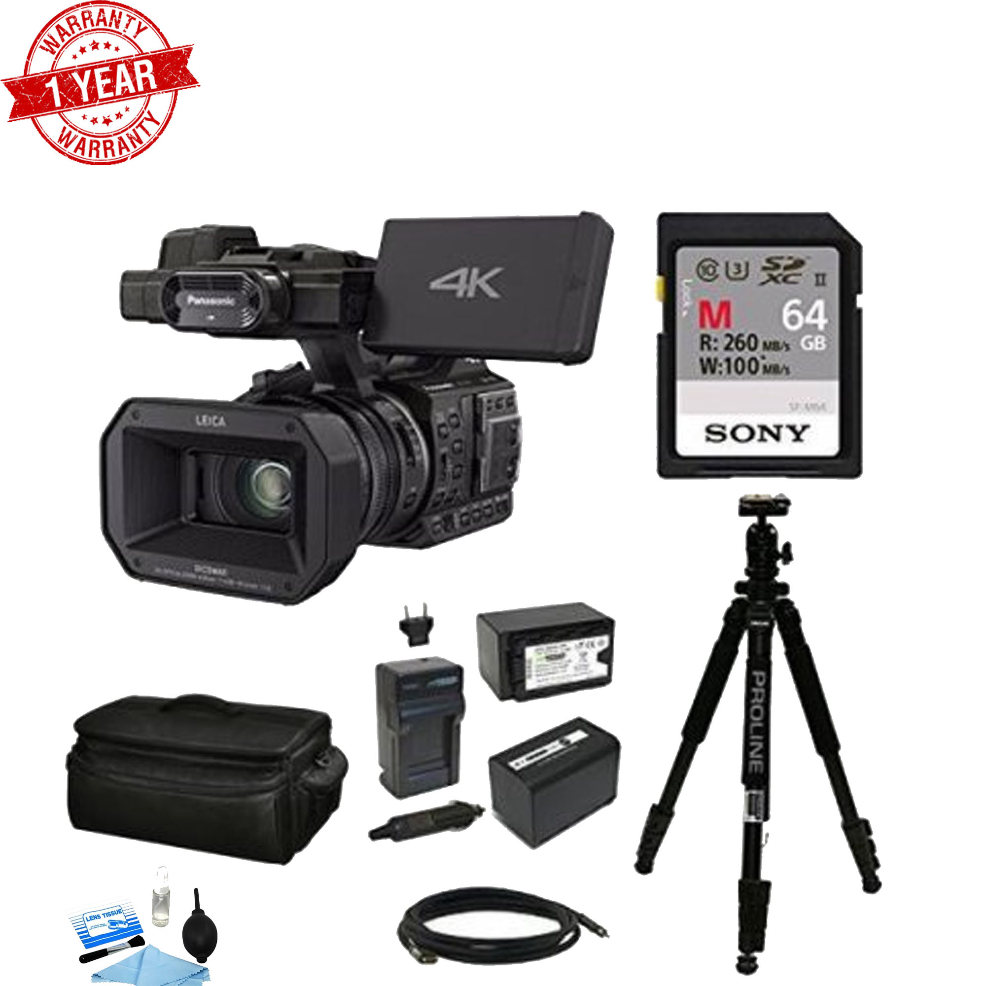 Panasonic HC-X1000 4K Ultra HD Camcorder Sony 64GB SD Card Bundle