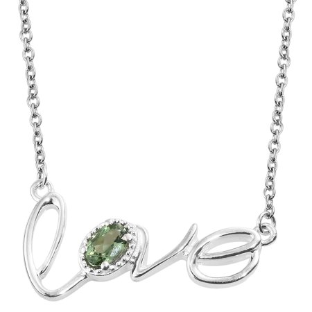 """925 Sterling Silver Oval Green Apatite Love Necklace for Women Jewelry Gift 18"""" Cttw 0.4"""