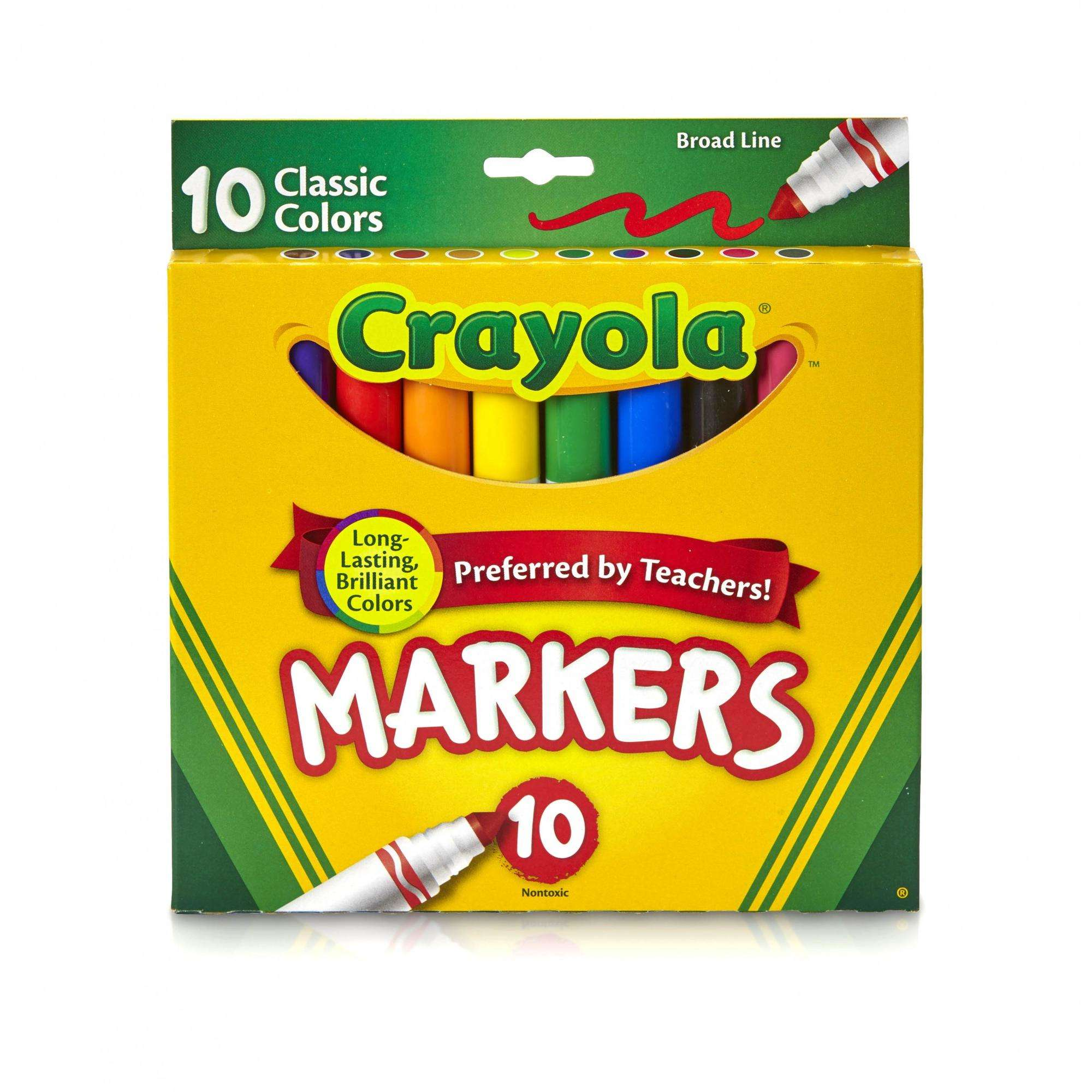Crayola Classic Broad Line Markers, Classic Colors, 10-Count