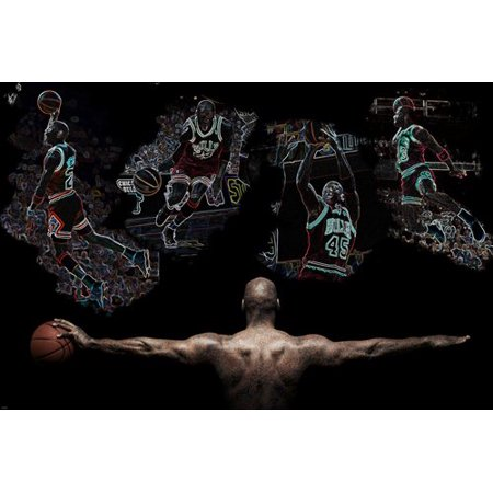 Basketball Star Michael Jordan In Action Collage Colorful Cool Moves