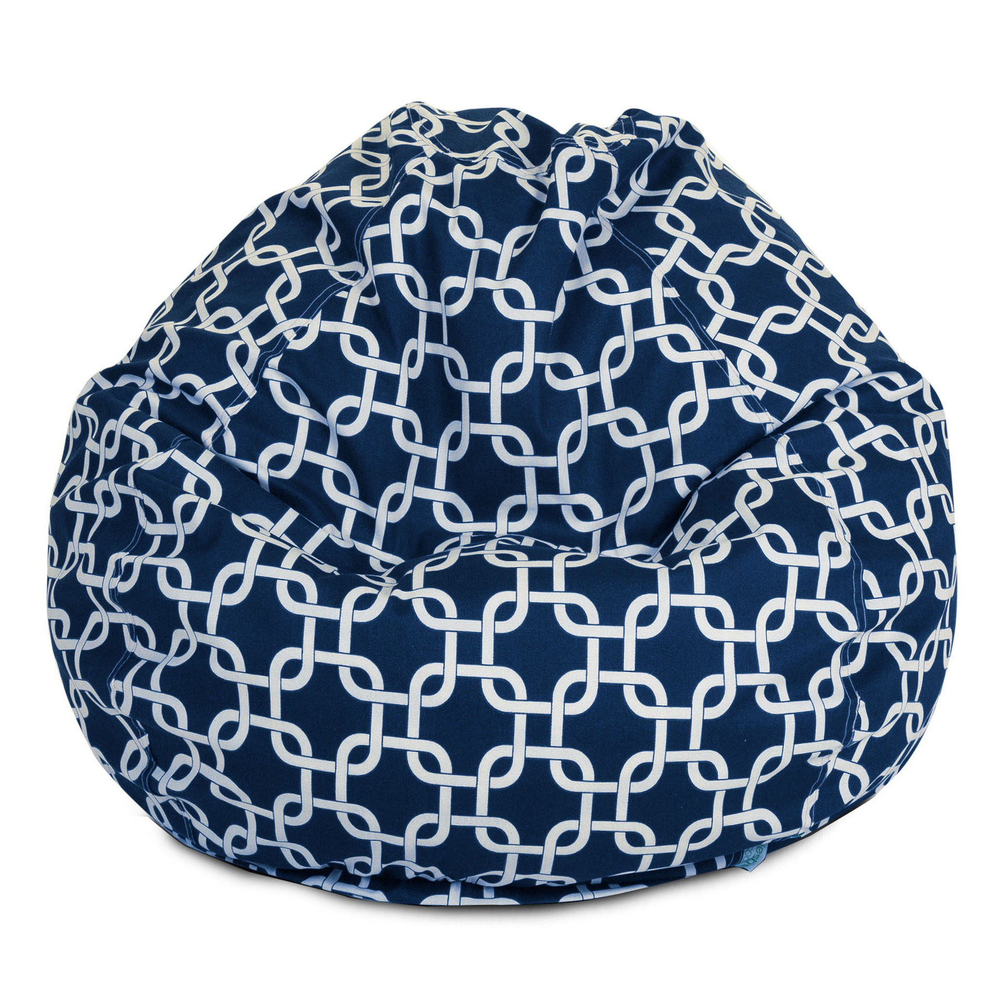 Majestic Home Goods Indoor Outdoor Navy Links Classic Bean Bag Chair 28 in L x 28 in W x 22 in H