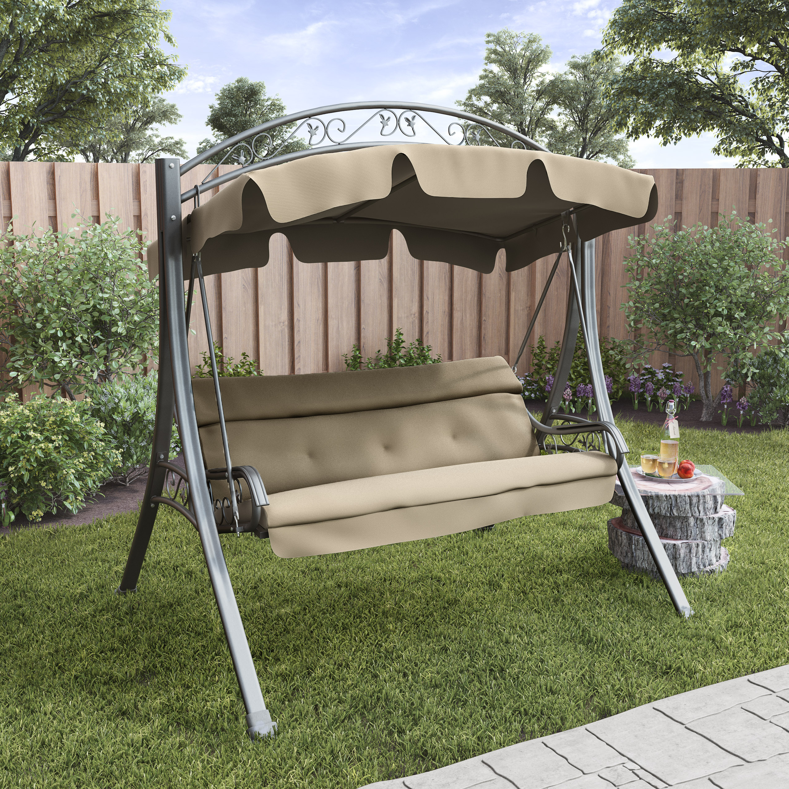 Corliving Nantucket Patio Swing With Arched Canopy Beige Walmart Com