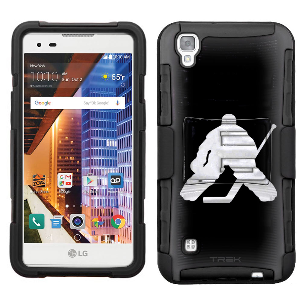 LG Tribute HD Armor Hybrid Case - Silhouette Ice Hockey Goalie on Black