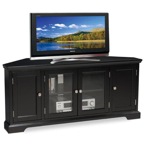 KD Furnishings Slate Black Hardwood 60-inch Corner TV Console