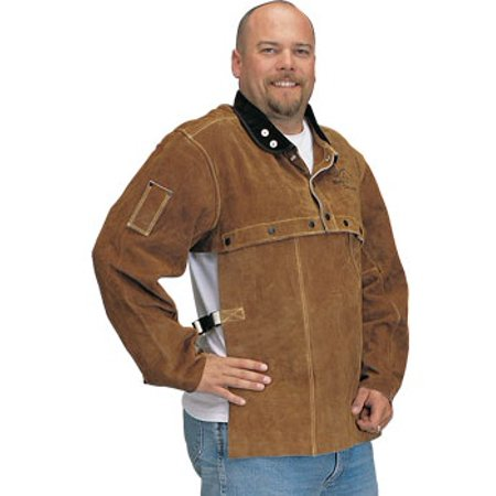Black Stallion 214CS Cowhide Welding Leather Sleeve & Bib Combo, Medium (Cowhide Leather Overalls)