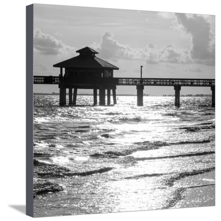 Fishing Pier Fort Myers Beach at Sunset - Florida Stretched Canvas Print Wall Art By Philippe (Fort Myers On A Map Of Florida)