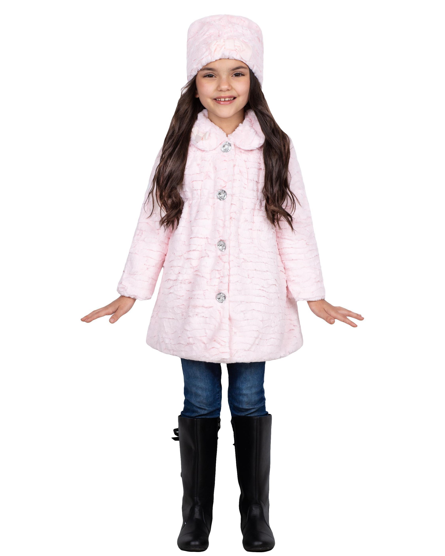 Widgeon Little Girls Rhinestone Button Coat with Hat