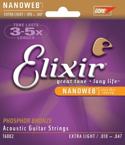 Elixir Nanoweb Phosphor Bronze Extra Light Gauge Acoustic Strings by W.L. Gore