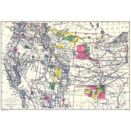 Old State Map   Indian Reservations In The United States   1898   33 38 X 23