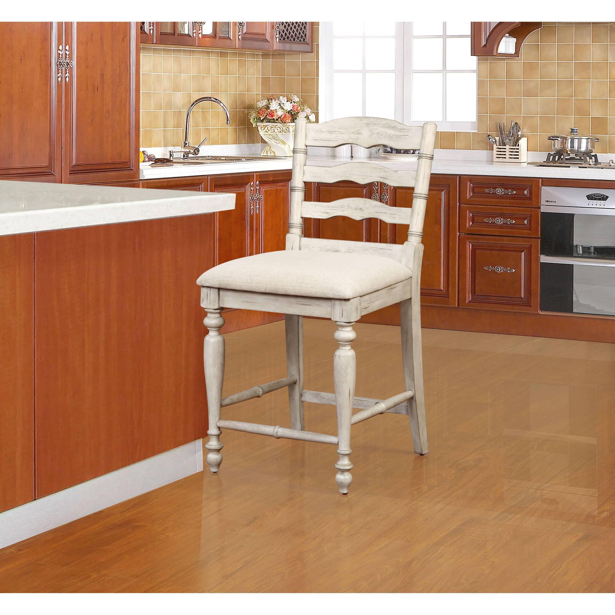 Linon Marino Counter Stool White Wash Finish 24 Inch Seat Height