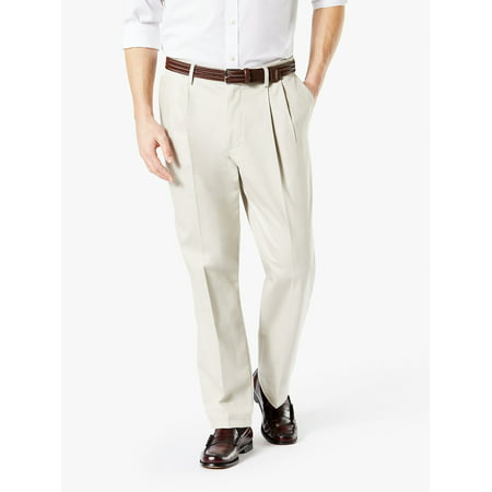 Men's Big & Tall Pleated Classic Fit Signature Khaki Lux Cotton Stretch Pants Classic Fit Pleated Khaki