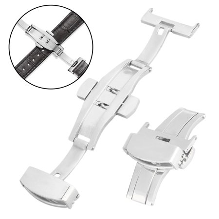 18-20mm Stainless Steel Butterfly Deployment Clasp Buckle W/ Double Push (Fold Over Clasp With Hidden Double Push Button)