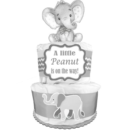 Elephant 2-Tier Diaper Cake - Gender Neutral Baby Shower Gift - Newborn Gift for a Boy or Girl - Centerpiece - Gray