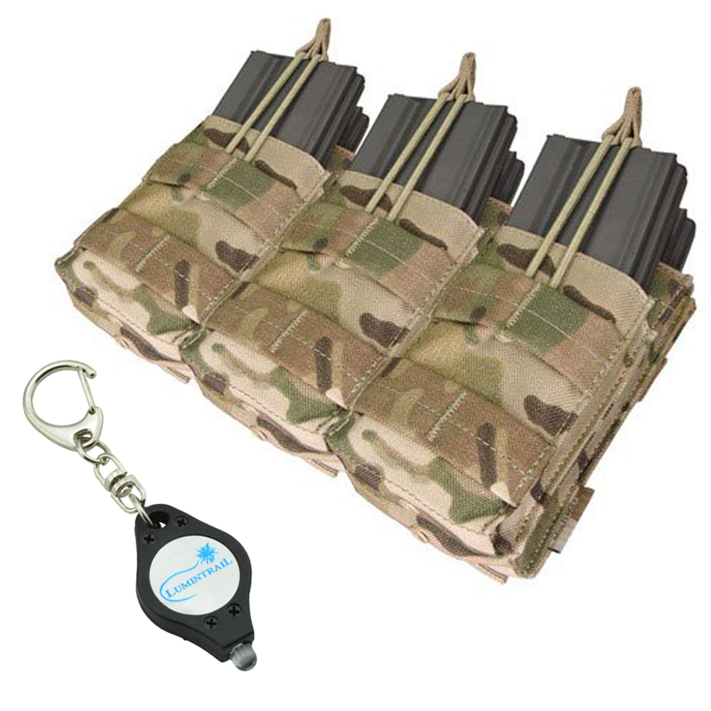 CONDOR MULTICAM Triple-Stacker MOLLE Magazine Nylon Pouch (MA44) PLUS 1 Lumintrail Keychainlight
