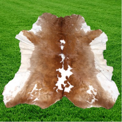 Optimum Leather Cowhide Rug Hair On Brown White 12 SF