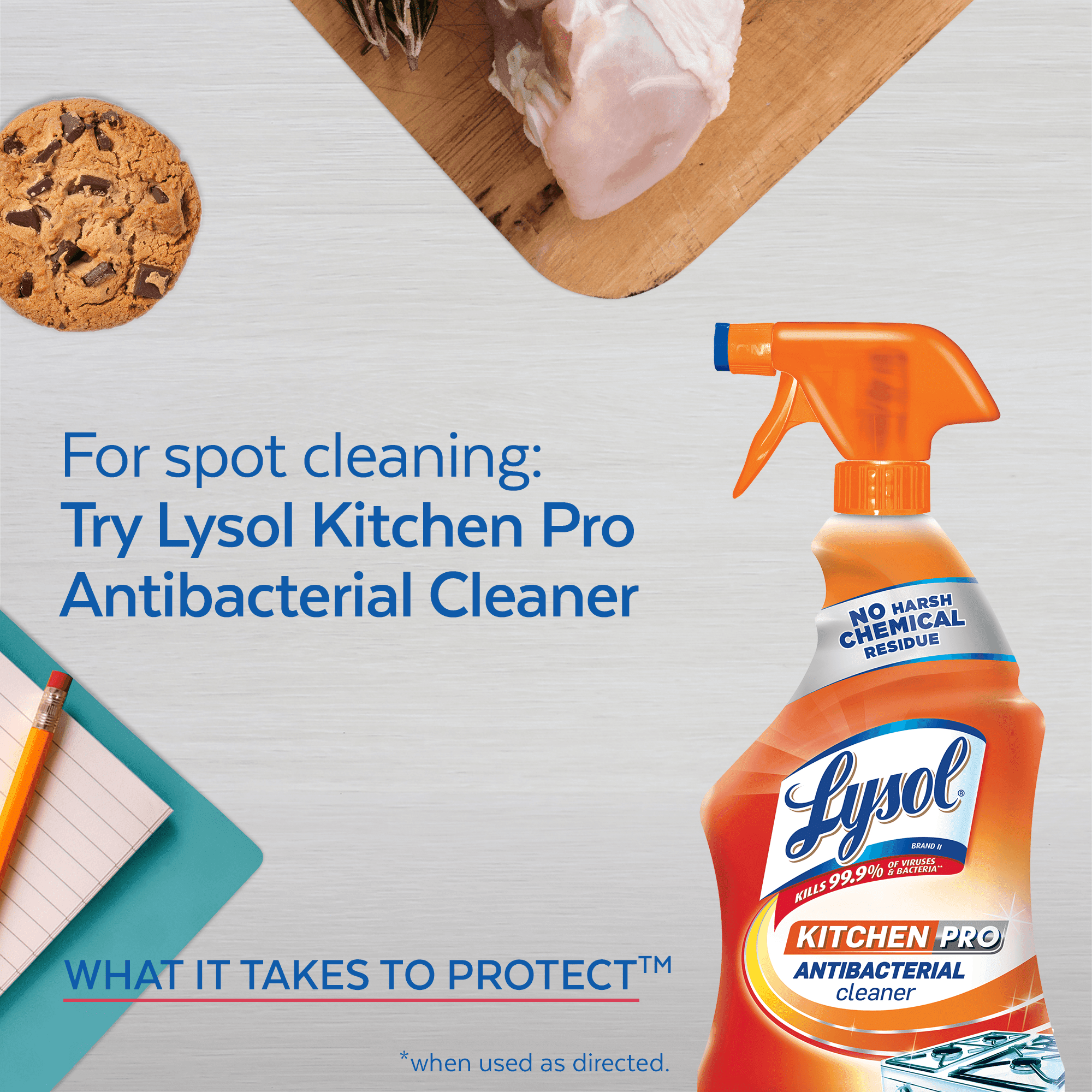 Lysol Kitchen Pro Antibacterial Disinfecting Wipes, 30ct, No Harsh ...