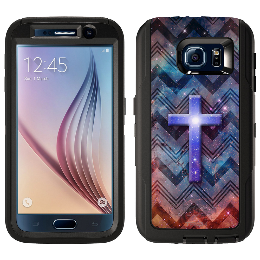 SKIN DECAL FOR Otterbox Defender Samsung Galaxy S6 Case - Cross on Nebula Dark Chevrons DECAL, NOT A CASE
