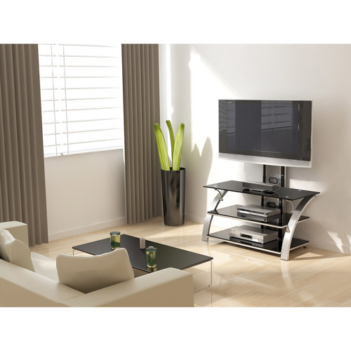 """Z-Line Designs Soliss 3-in-1 TV Stand With Mount, for TVs up to 60"""", Silver"""