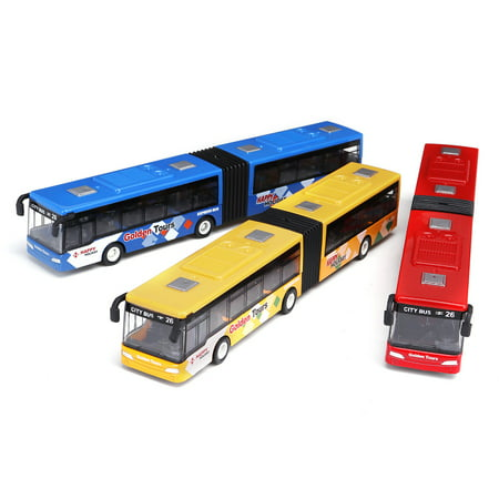 Bus Vehicles - 1:64 18cm Baby Pull Back Shuttle Bus Diecast Model Vehicle Kids Toy, Blue/Red/Green