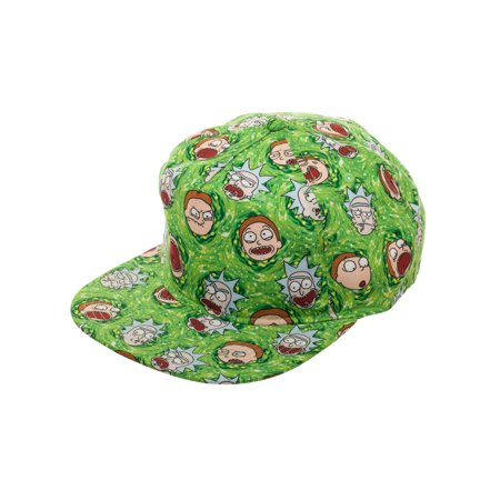 9b2a47bc31e Rick and Morty - Rick and Morty Lightweight Flat Bill Snapback Hat with  All-Over Rick and Morty Cartoon Sublimation - Walmart.com