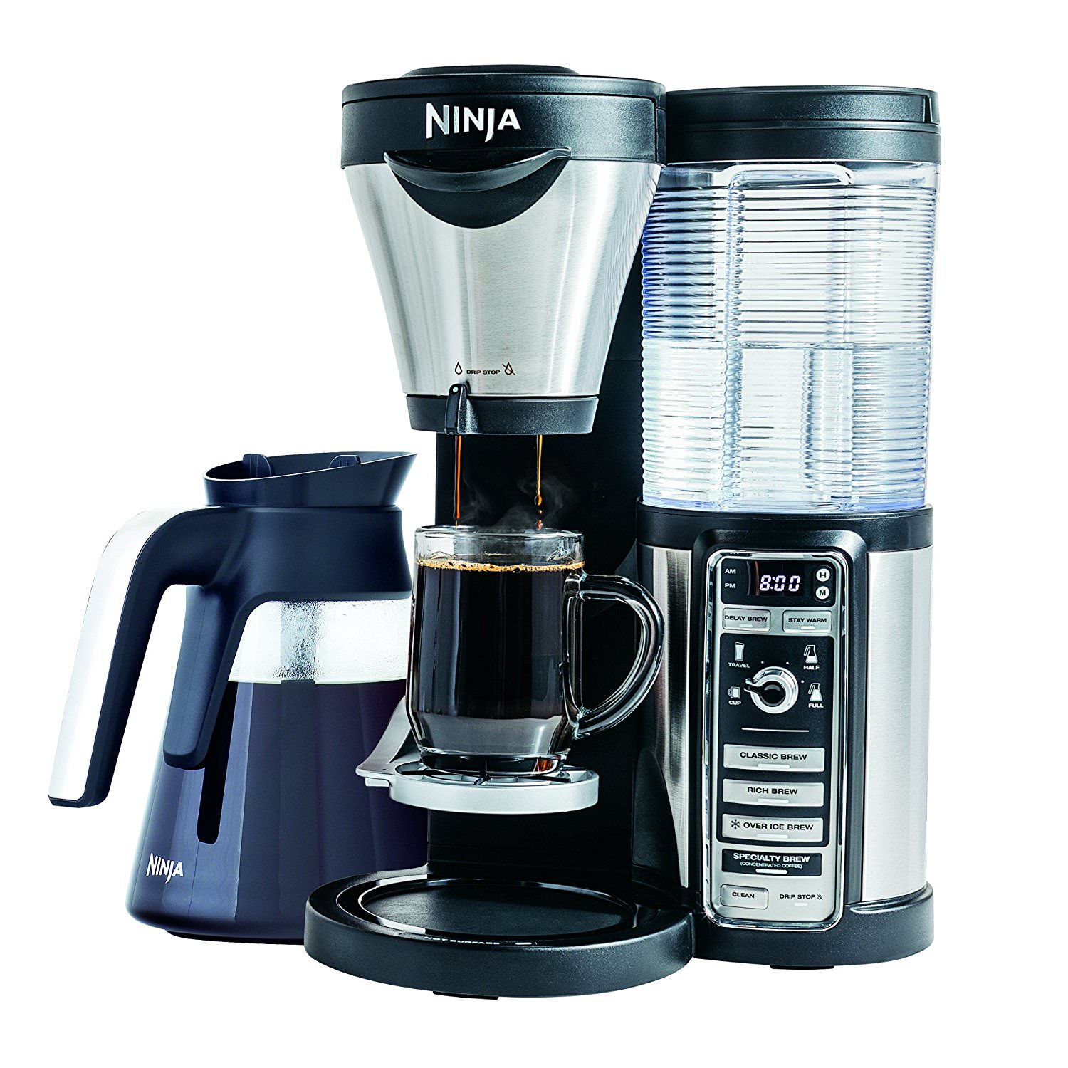 Ninja Coffee Maker for Hot/Iced Coffee with 4 Brew Sizes, Programmable Auto-iQ, Milk Frother, 43oz Glass Carafe, Tumbler and 100 Recipes CF082 (Certified Refurbished)