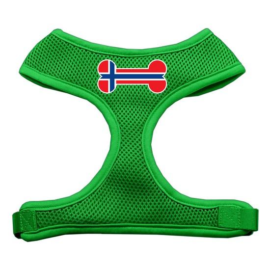 Image of Mirage 70-39 LGEG Bone Flag Norway Soft Mesh Dog Harness Emerald Green Lg