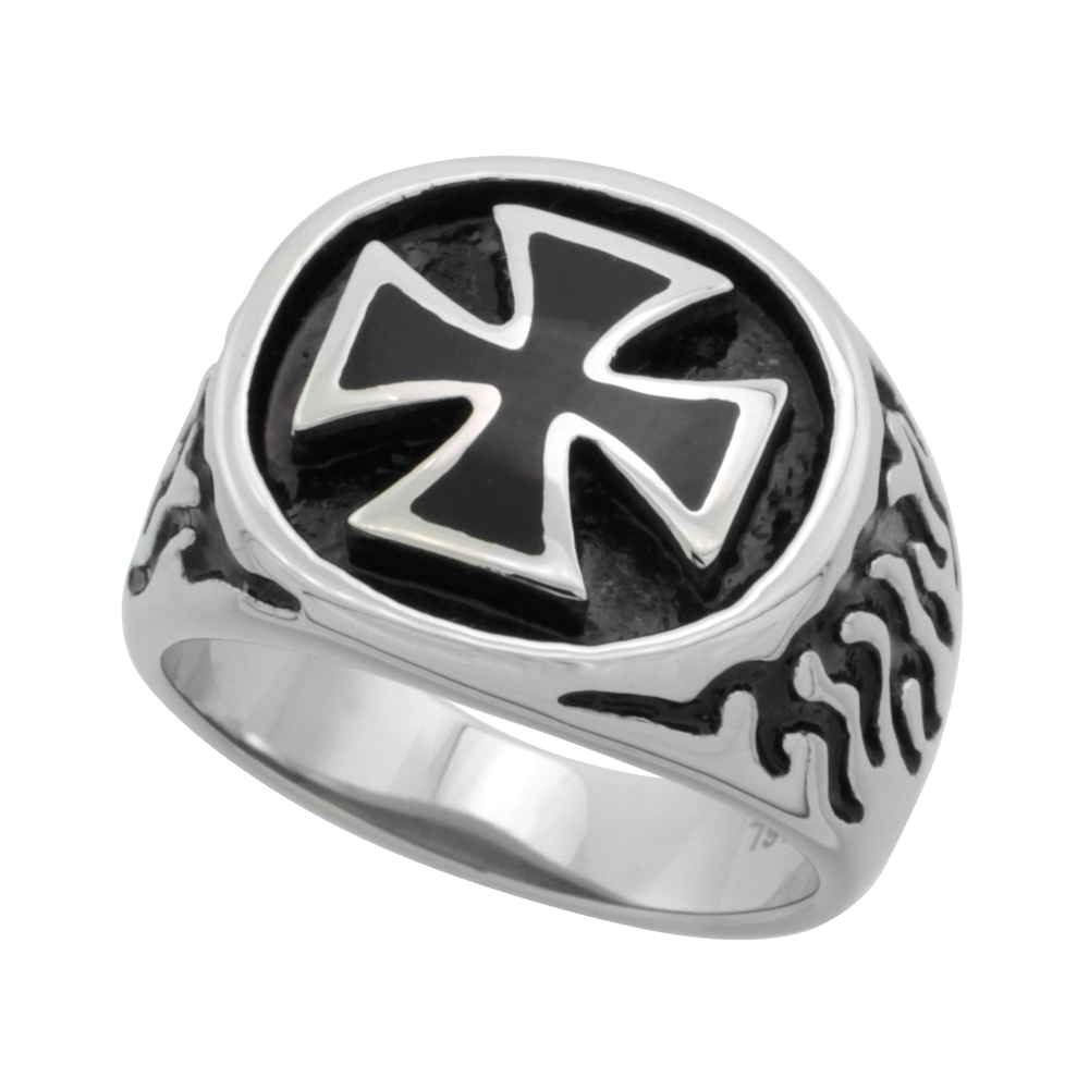 Stainless Steel Maltese Cross Ring Flames Biker Rings for men 3/4 inch long, sizes 9 - 15