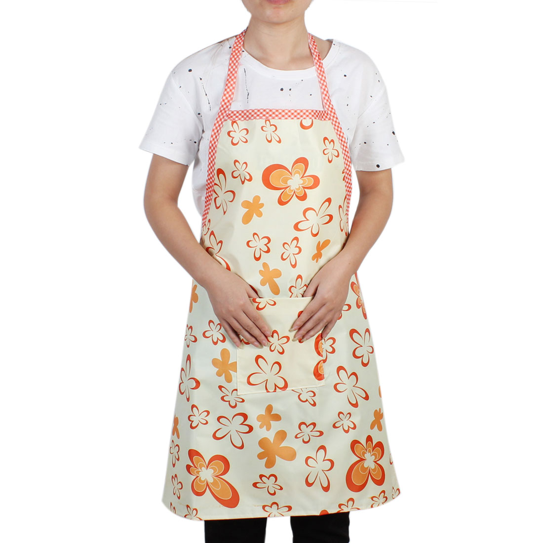 Kitchen Household Orange Flower Pattern Water Resistant Cooking Apron Bib Dress