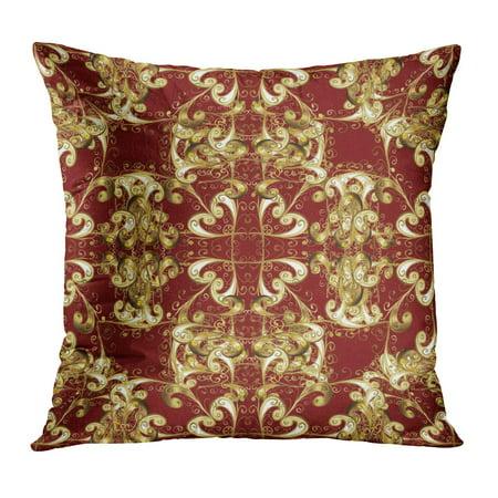 ECCOT Abstract on Red Adorable Brocade Cartoon Creativity Curve Pillowcase Pillow Cover Cushion Case 16x16 inch](Red Brocade)