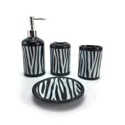 WPM 4 Piece Ceramic Bath Accessory Set Black White Zebra Animal Print Bathroom Soap or Lotion Dispenser w/ Toothbrush Holder, Tumbler, Soap Dish