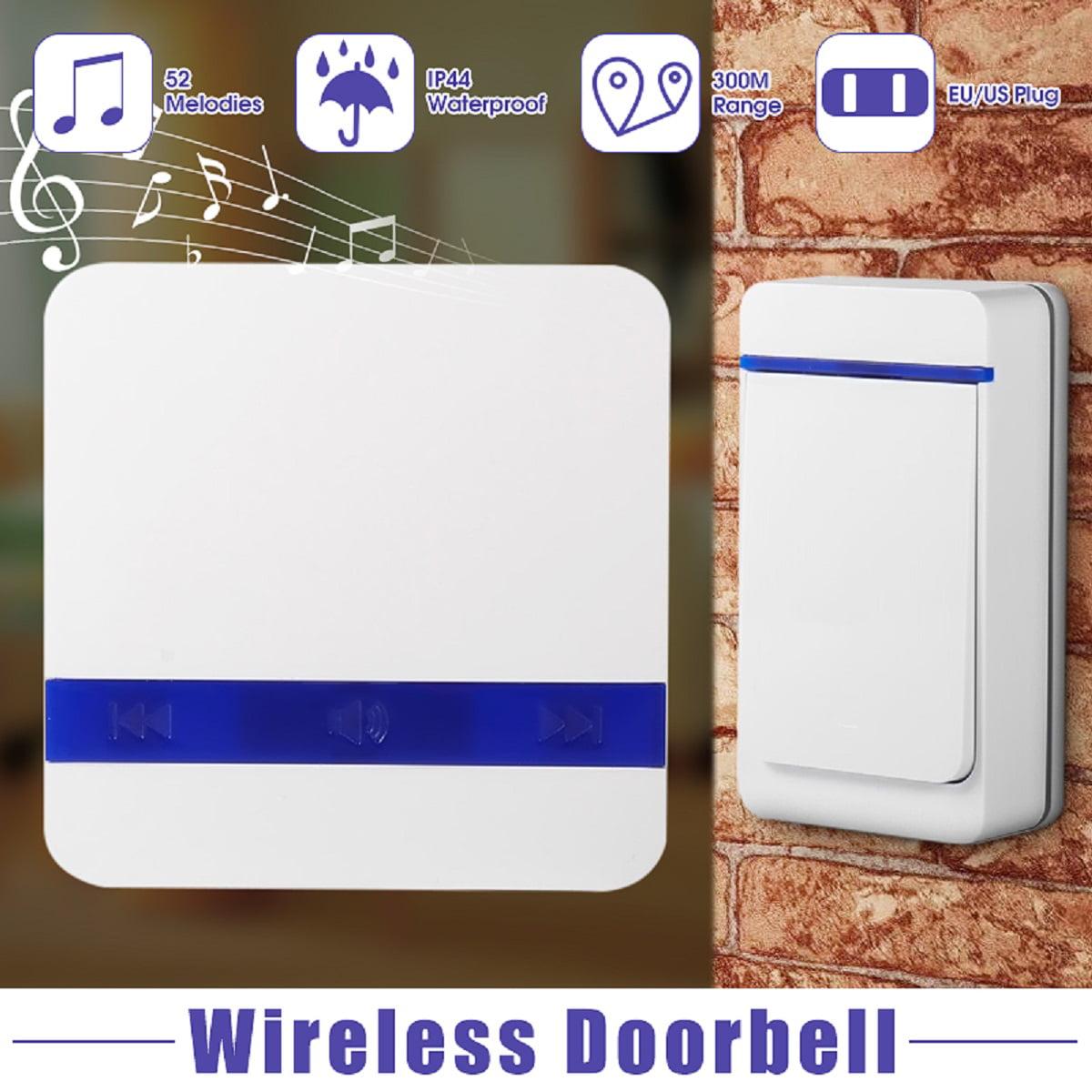 Waterproof Wireless Doorbell Ring Bell 52 Melodies Chime Songs Door Bell Alarm
