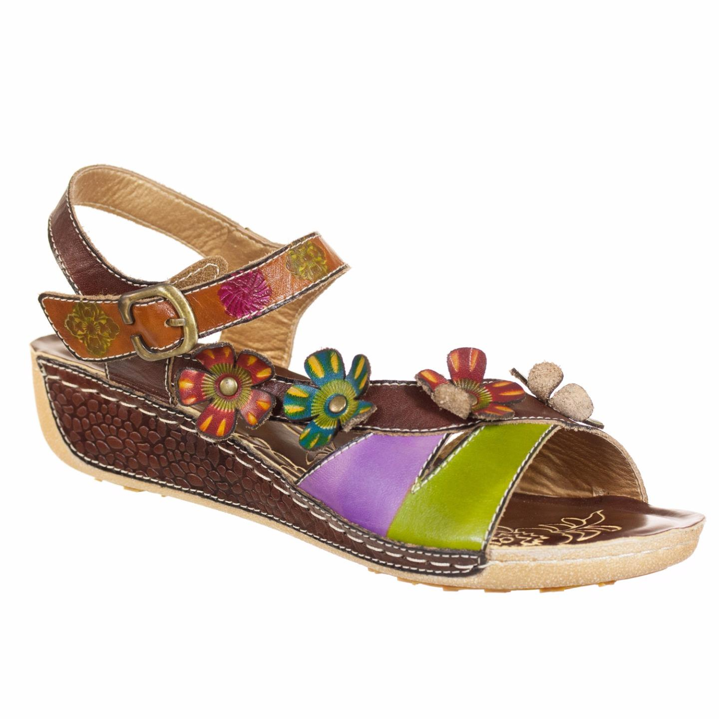 Belladona Spring Step L'Artiste Collection Women's Sandal Brown Multi EU 37 US 7 by Spring Step