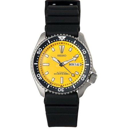 Seiko Mens Automatic Diver Analog Watch Black Rubber Strap Yellow Dial SKXA35 by