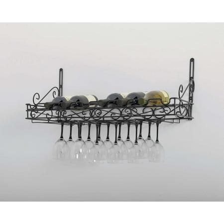 Concept Housewares, Black Metal, 8 Bottle & 24 Glass Wall Wine Rack 31