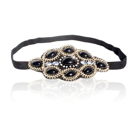 Womens Fashion Headband, Beautiful Black Stone Gatsby Flapper 1920's Rhinestone and Beaded Headband, Adjustable Band to Fit Any Head, 18 Look Style Guide Included by LAC Beauty