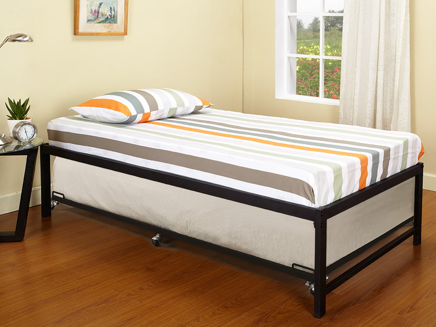 "Archer 39"" Twin Size Black Metal Day Bed Frame With Roll-Out Trundle (Twin Day Bed & Trundle) by Pilaster Designs"