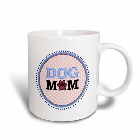 3dRose Blue Dog Mom round design with a paw print O - circle - coral salmon pink polka dot - doggy mommy, Ceramic Mug, (Paw Design Ceramic)