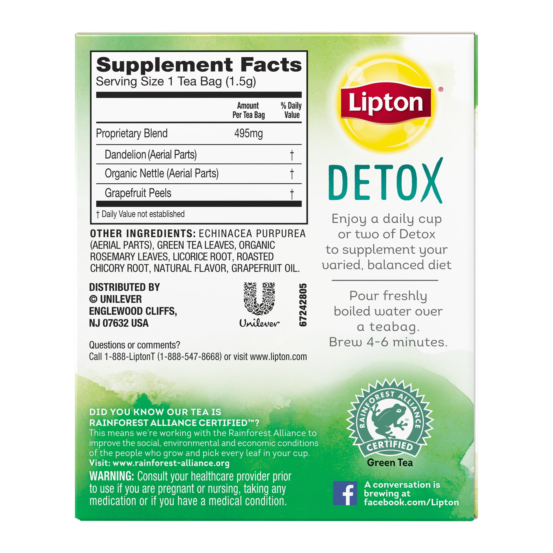 Lipton Detox Herbal Supplement with Green Tea, 15 ct